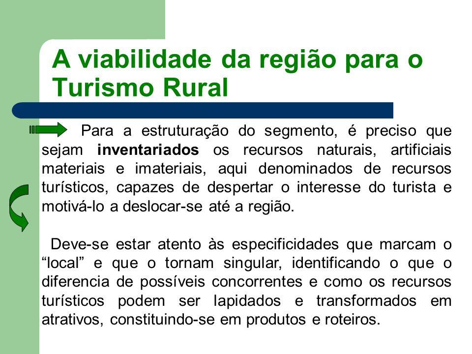 A viabilidade da região para o Turismo Rural