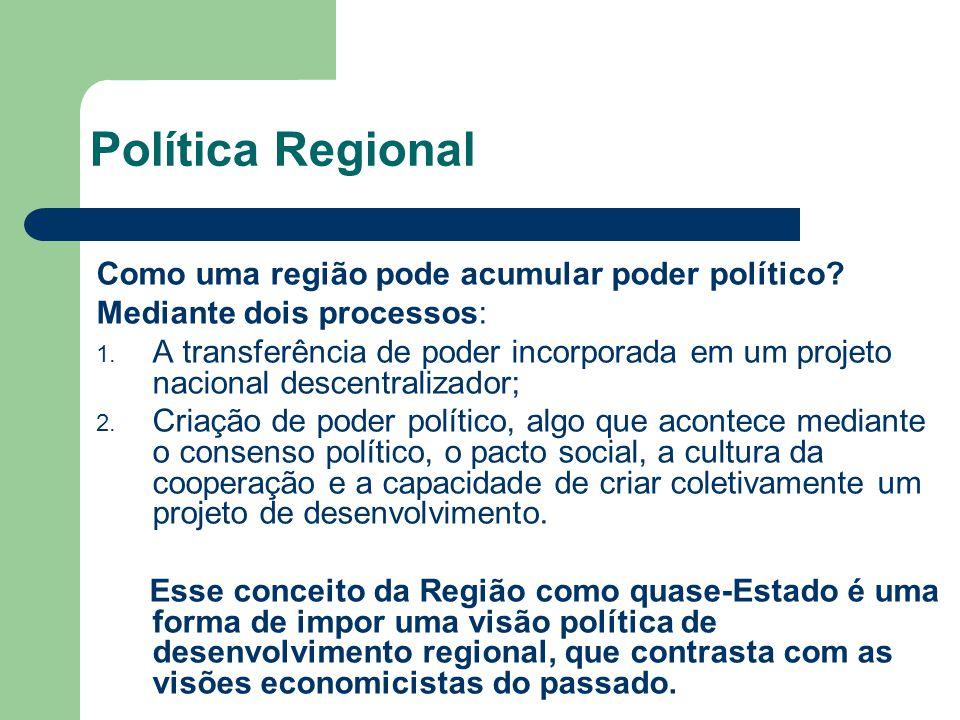 Política Regional Como uma região pode acumular poder político
