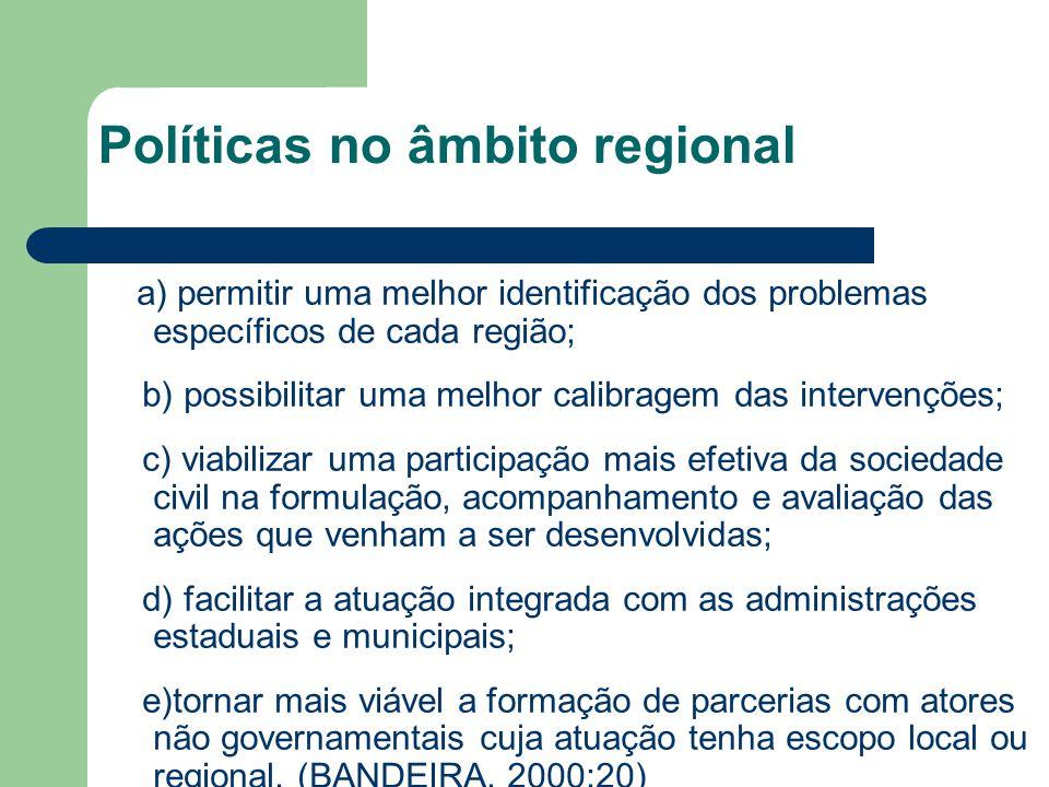 Políticas no âmbito regional
