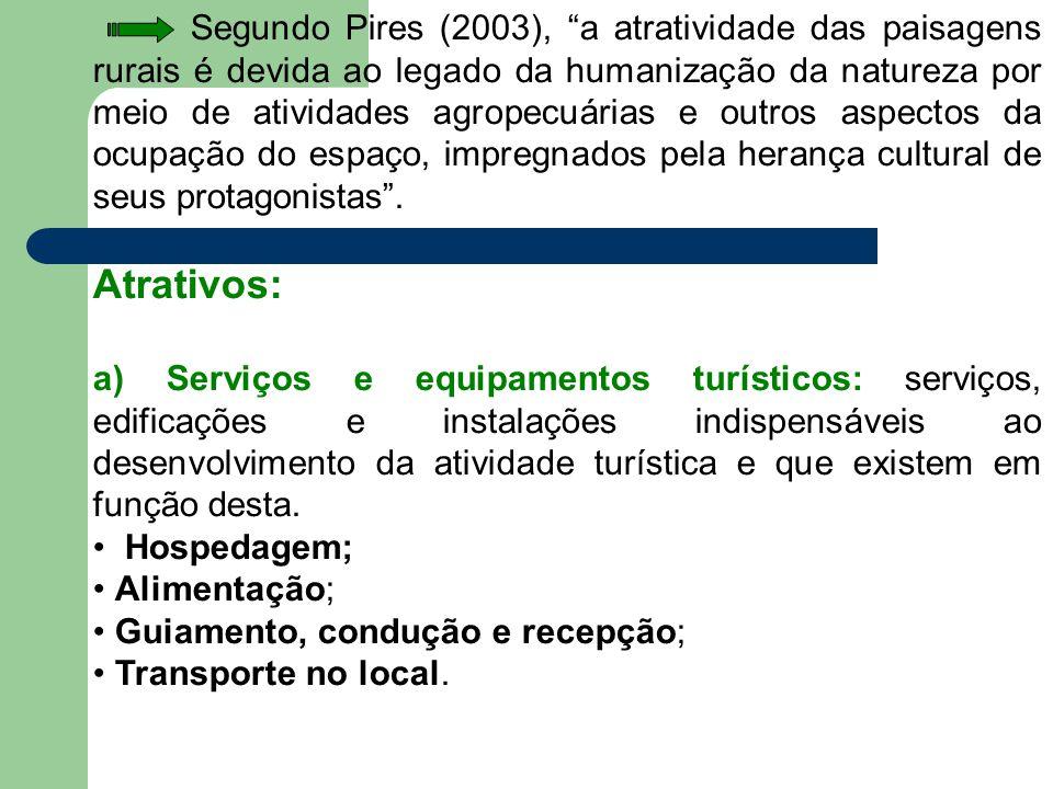 Segundo Pires (2003), a atratividade das paisagens rurais é devida ao legado da humanização da natureza por meio de atividades agropecuárias e outros aspectos da ocupação do espaço, impregnados pela herança cultural de seus protagonistas .