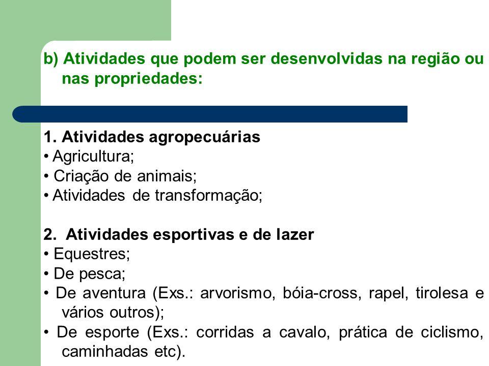 b) Atividades que podem ser desenvolvidas na região ou nas propriedades: