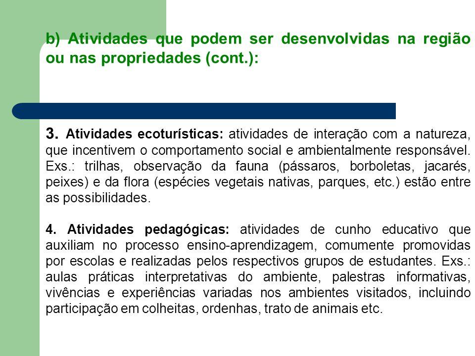 b) Atividades que podem ser desenvolvidas na região ou nas propriedades (cont.):