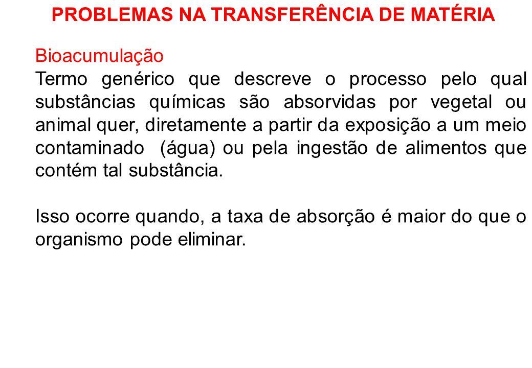PROBLEMAS NA TRANSFERÊNCIA DE MATÉRIA