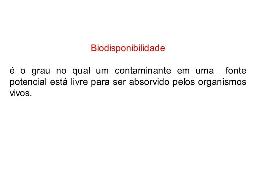 Biodisponibilidade é o grau no qual um contaminante em uma fonte potencial está livre para ser absorvido pelos organismos vivos.