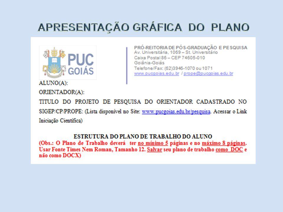 APRESENTAÇÃO GRÁFICA DO PLANO