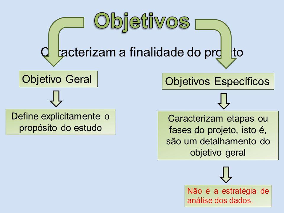 Objetivos Caracterizam a finalidade do projeto Objetivo Geral