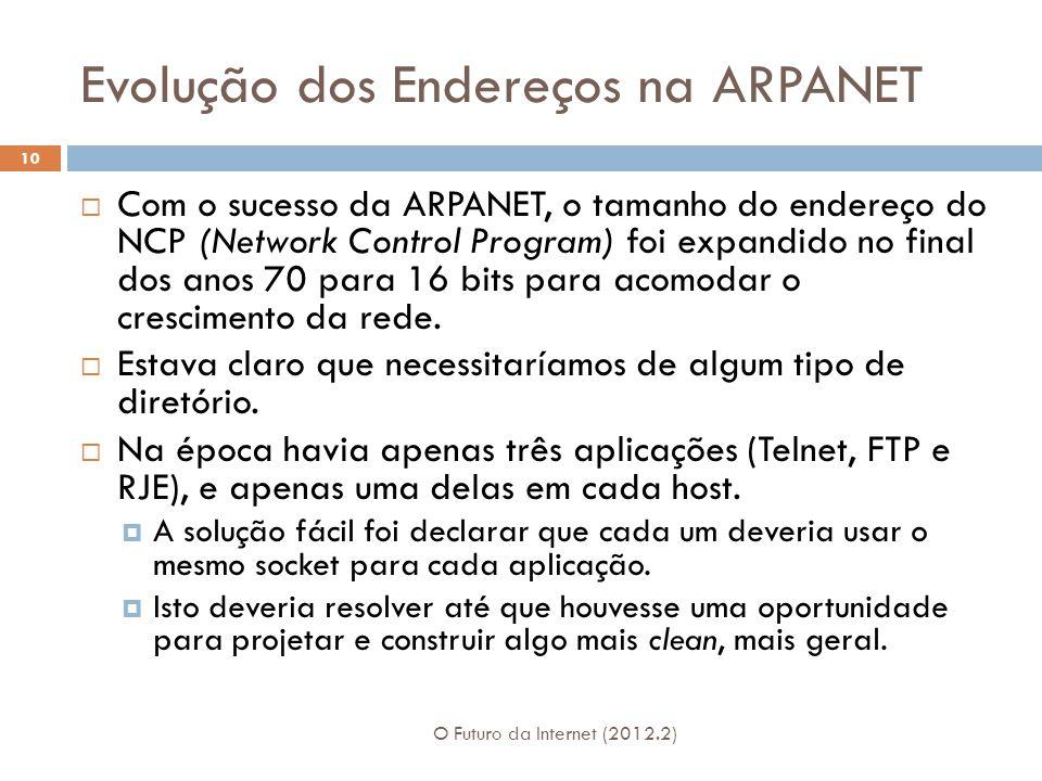 Evolução dos Endereços na ARPANET