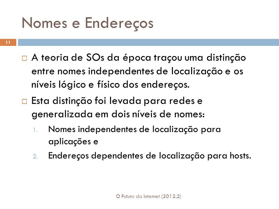 Nomes e Endereços A teoria de SOs da época traçou uma distinção entre nomes independentes de localização e os níveis lógico e físico dos endereços.