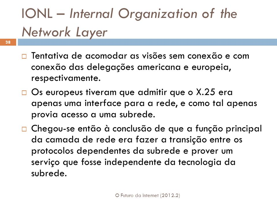IONL – Internal Organization of the Network Layer