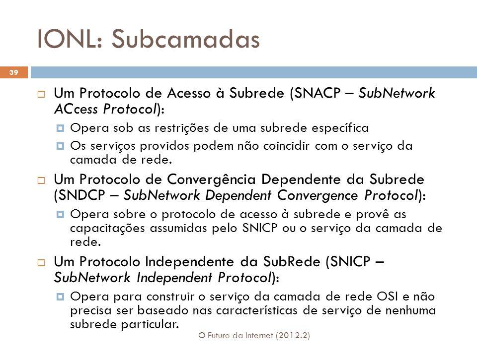 IONL: Subcamadas Um Protocolo de Acesso à Subrede (SNACP – SubNetwork ACcess Protocol): Opera sob as restrições de uma subrede específica.