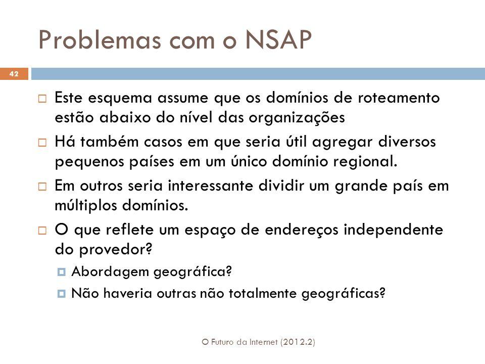 Problemas com o NSAP Este esquema assume que os domínios de roteamento estão abaixo do nível das organizações.