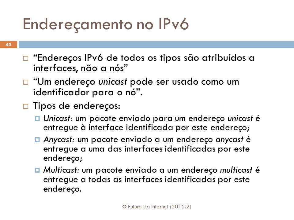Endereçamento no IPv6 Endereços IPv6 de todos os tipos são atribuídos a interfaces, não a nós