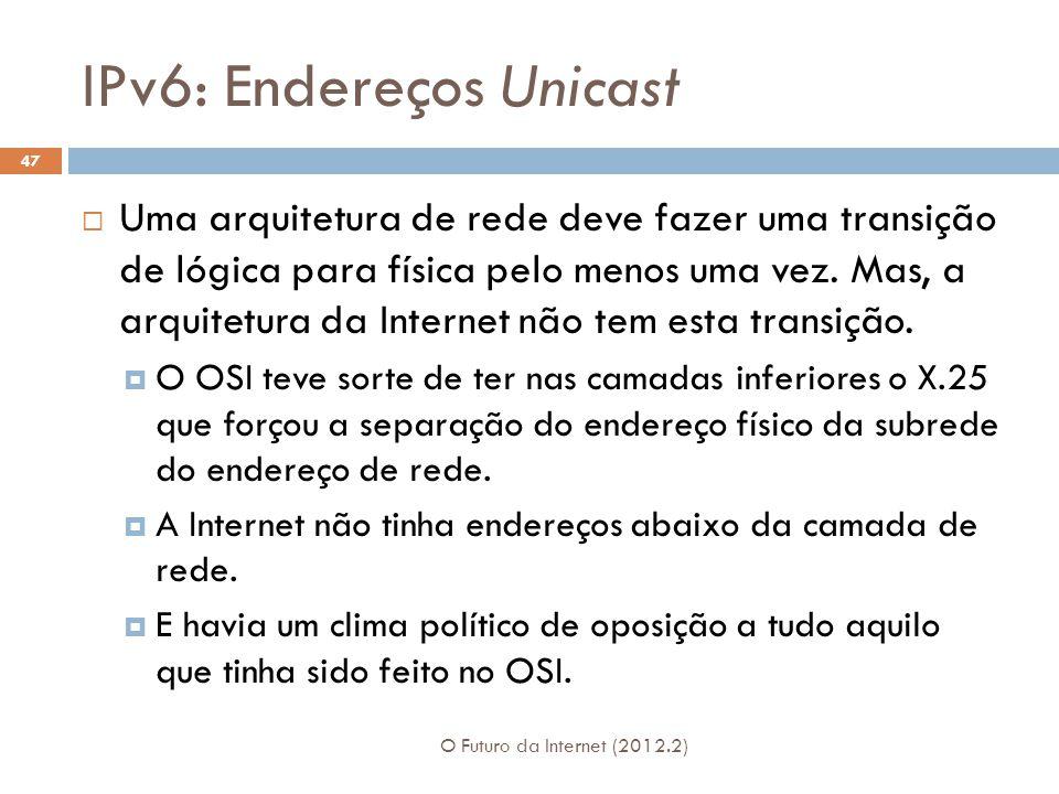 IPv6: Endereços Unicast