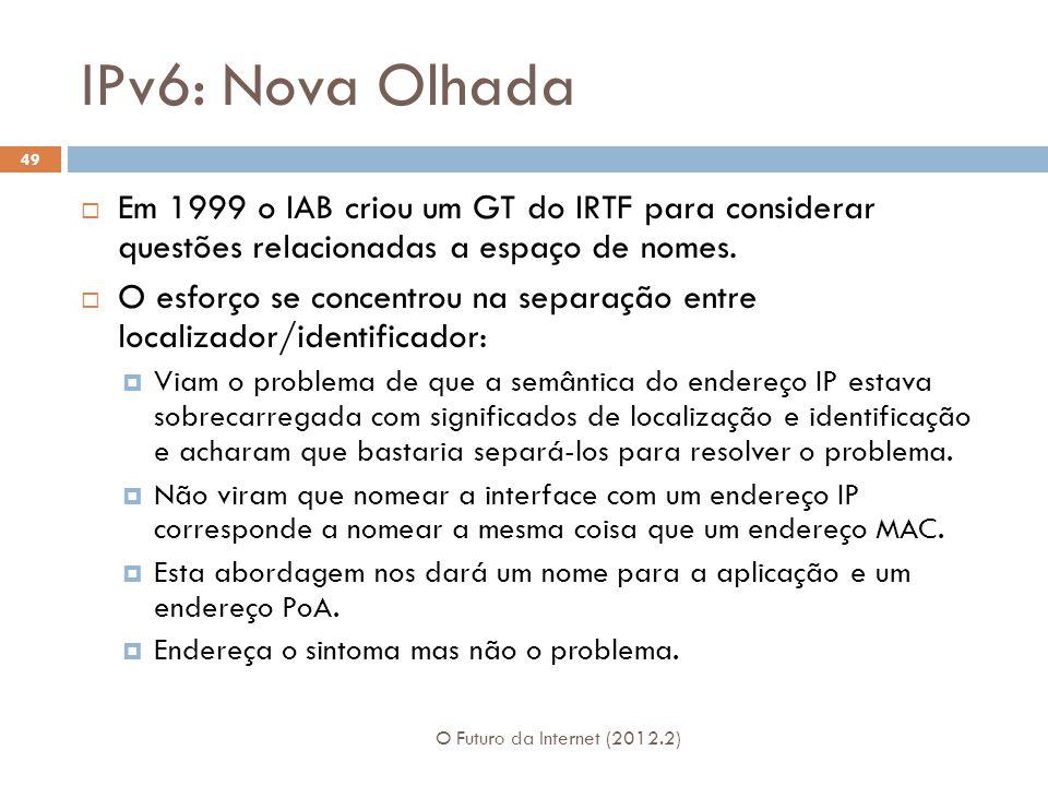 IPv6: Nova Olhada Em 1999 o IAB criou um GT do IRTF para considerar questões relacionadas a espaço de nomes.