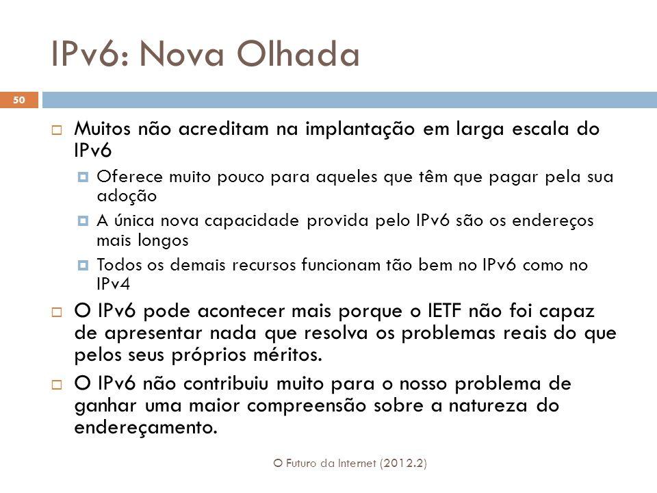 IPv6: Nova Olhada Muitos não acreditam na implantação em larga escala do IPv6. Oferece muito pouco para aqueles que têm que pagar pela sua adoção.