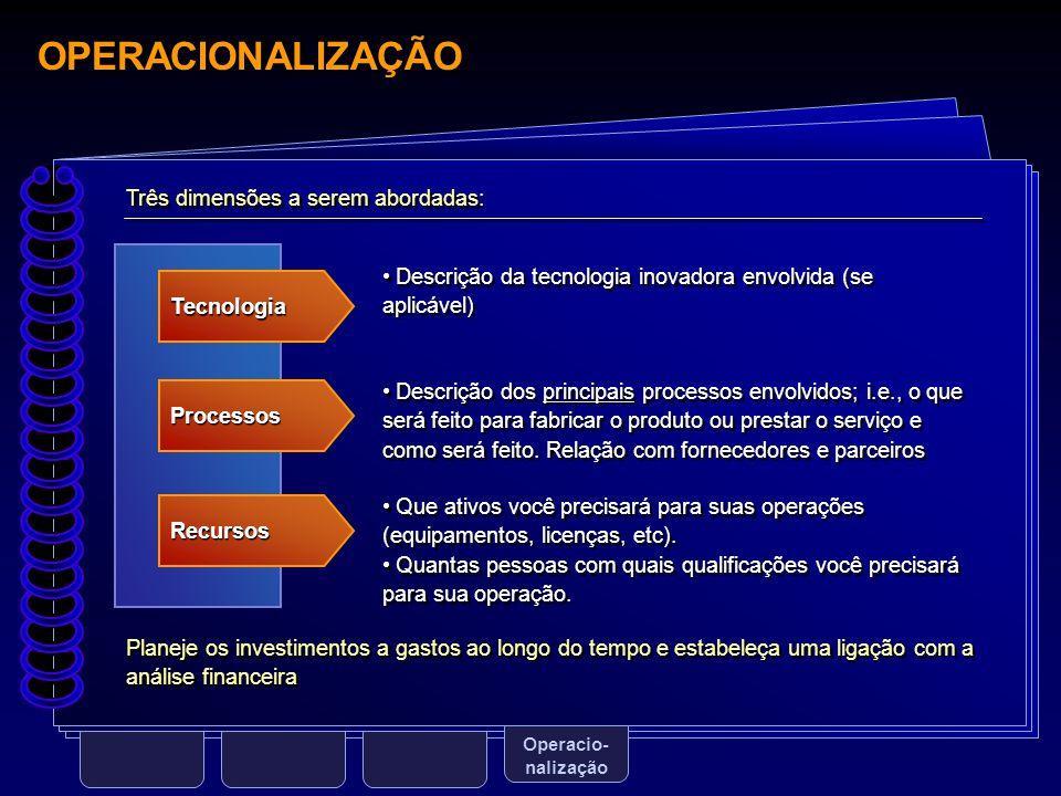 OPERACIONALIZAÇÃO Três dimensões a serem abordadas: