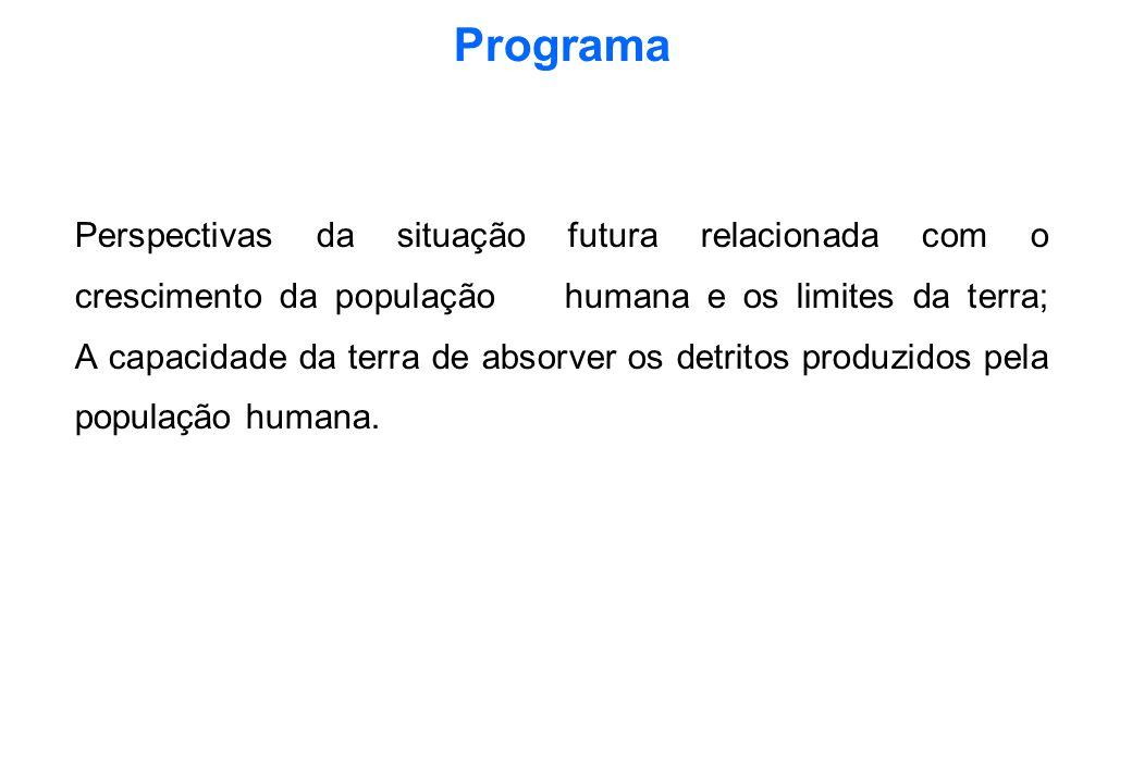 Programa Perspectivas da situação futura relacionada com o crescimento da população humana e os limites da terra; A capacidade da terra de absorver os detritos produzidos pela população humana.
