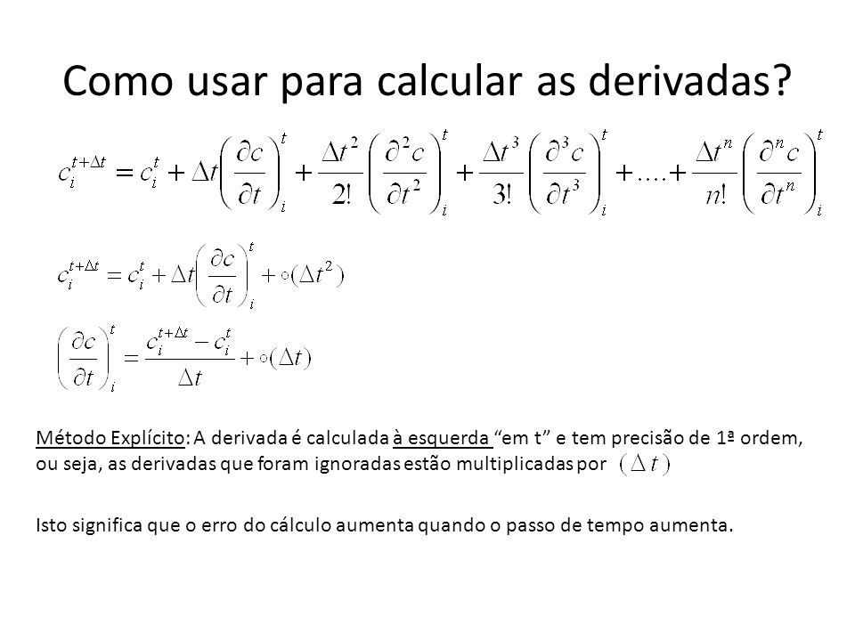Como usar para calcular as derivadas