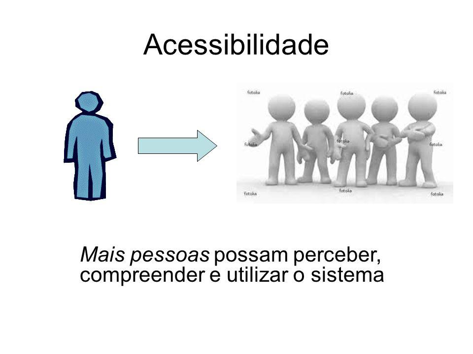 Acessibilidade Mais pessoas possam perceber, compreender e utilizar o sistema