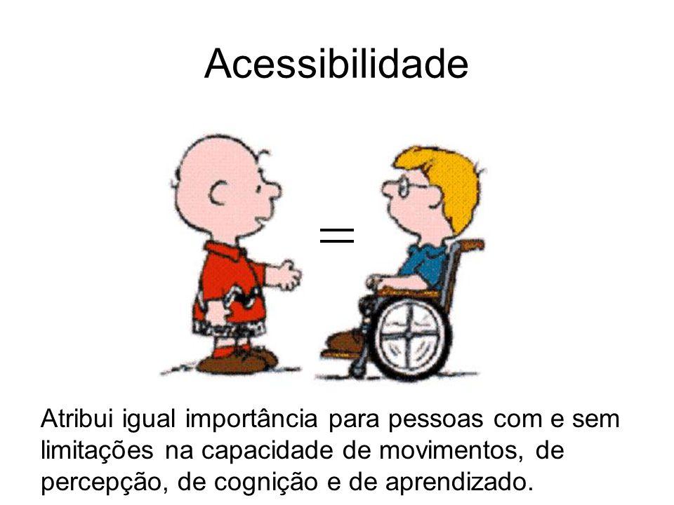 Acessibilidade Atribui igual importância para pessoas com e sem limitações na capacidade de movimentos, de percepção, de cognição e de aprendizado.