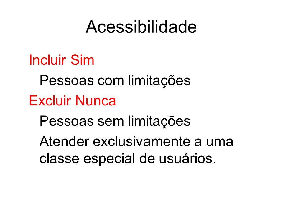 Acessibilidade Incluir Sim Pessoas com limitações Excluir Nunca