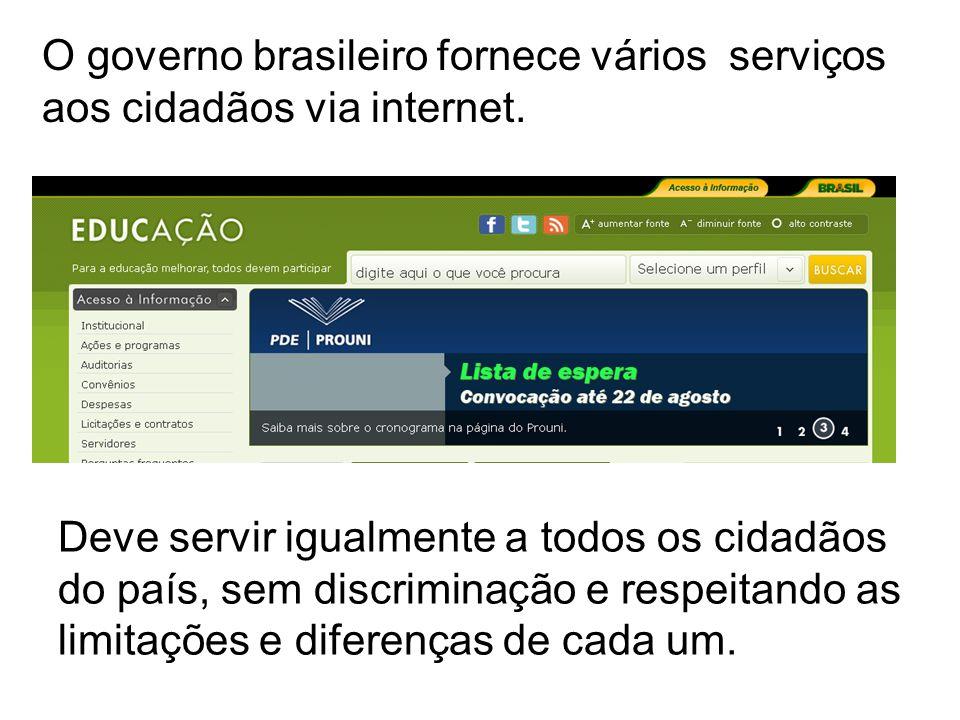 O governo brasileiro fornece vários serviços aos cidadãos via internet.