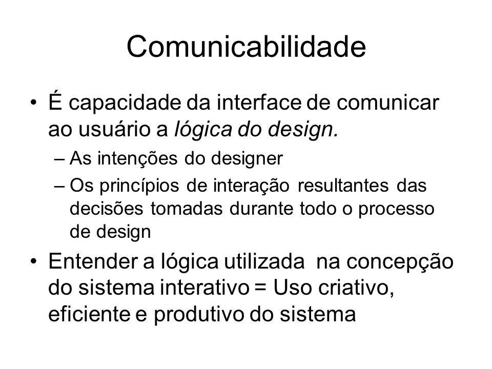 Comunicabilidade É capacidade da interface de comunicar ao usuário a lógica do design. As intenções do designer.