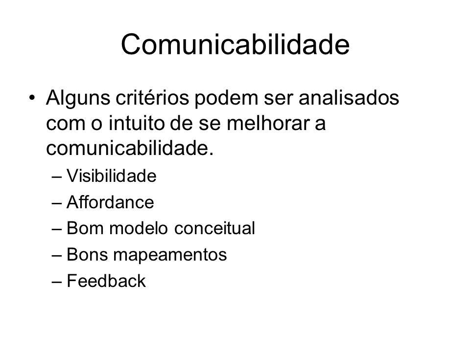 Comunicabilidade Alguns critérios podem ser analisados com o intuito de se melhorar a comunicabilidade.