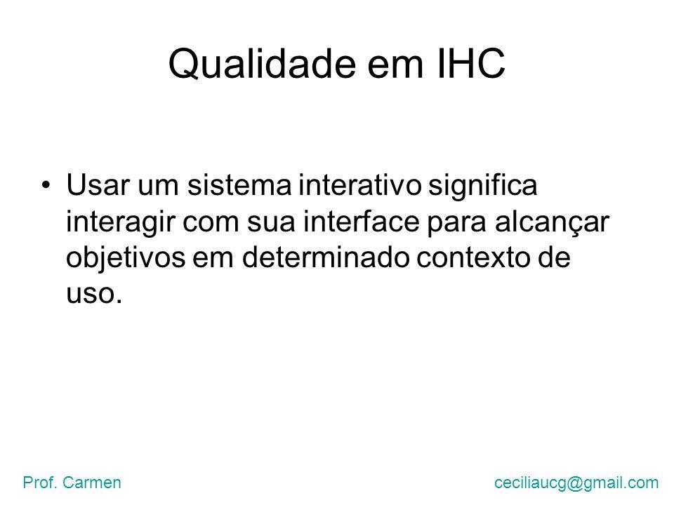 Qualidade em IHC Usar um sistema interativo significa interagir com sua interface para alcançar objetivos em determinado contexto de uso.