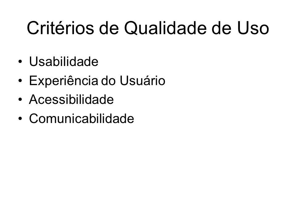 Critérios de Qualidade de Uso