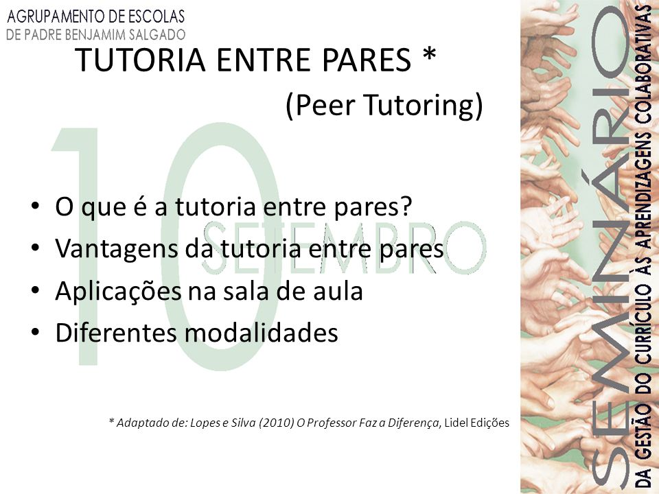 TUTORIA ENTRE PARES * (Peer Tutoring)