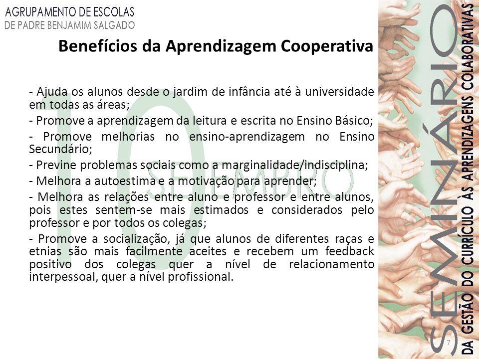 Benefícios da Aprendizagem Cooperativa