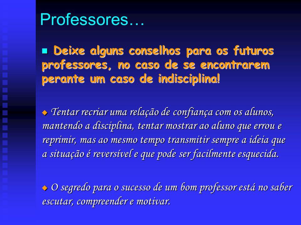 Professores… Deixe alguns conselhos para os futuros professores, no caso de se encontrarem perante um caso de indisciplina!