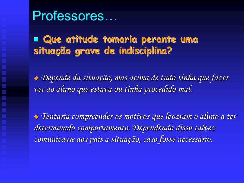Professores… Que atitude tomaria perante uma situação grave de indisciplina