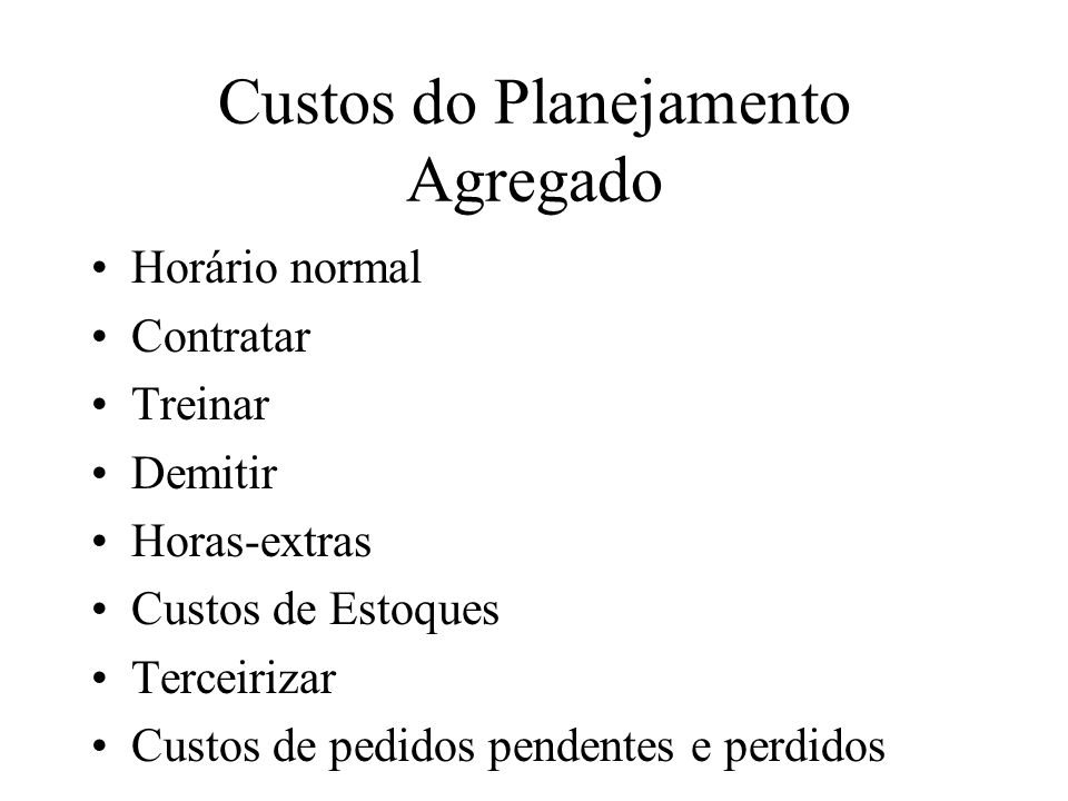 Custos do Planejamento Agregado