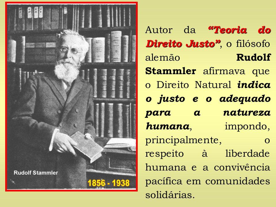Autor da Teoria do Direito Justo , o filósofo alemão Rudolf Stammler afirmava que o Direito Natural indica o justo e o adequado para a natureza humana, impondo, principalmente, o respeito à liberdade humana e a convivência pacífica em comunidades solidárias.