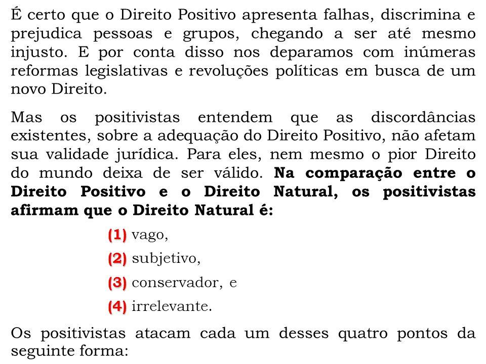 Os positivistas atacam cada um desses quatro pontos da seguinte forma:
