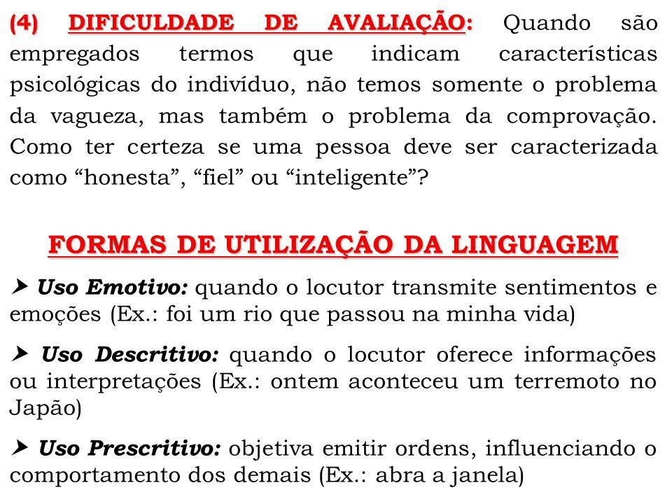 FORMAS DE UTILIZAÇÃO DA LINGUAGEM