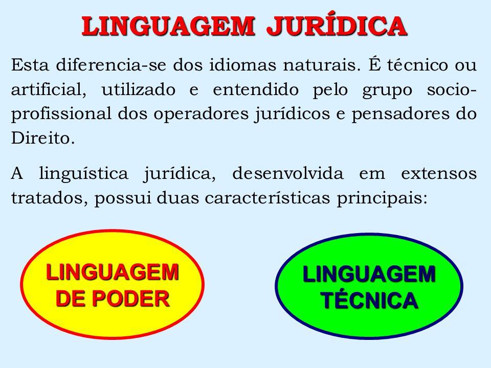 LINGUAGEM JURÍDICA LINGUAGEM LINGUAGEM DE PODER TÉCNICA