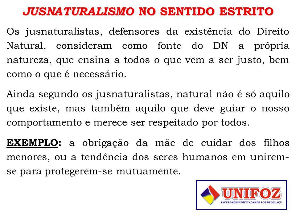 JUSNATURALISMO NO SENTIDO ESTRITO