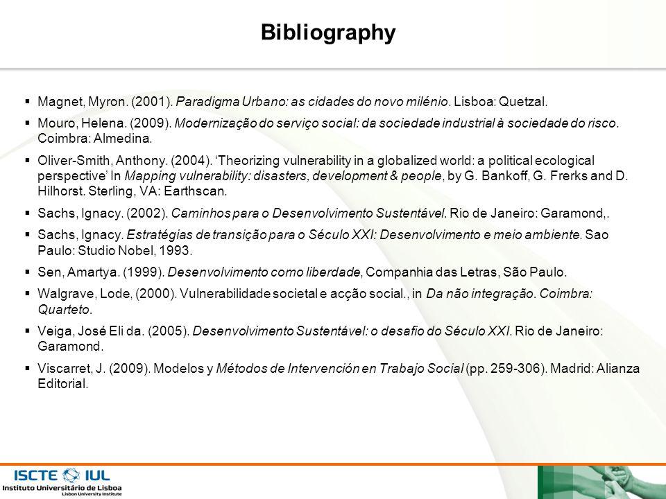 Bibliography Magnet, Myron. (2001). Paradigma Urbano: as cidades do novo milénio. Lisboa: Quetzal.