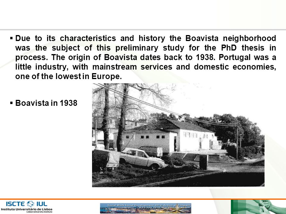 Due to its characteristics and history the Boavista neighborhood was the subject of this preliminary study for the PhD thesis in process. The origin of Boavista dates back to 1938. Portugal was a little industry, with mainstream services and domestic economies, one of the lowest in Europe.