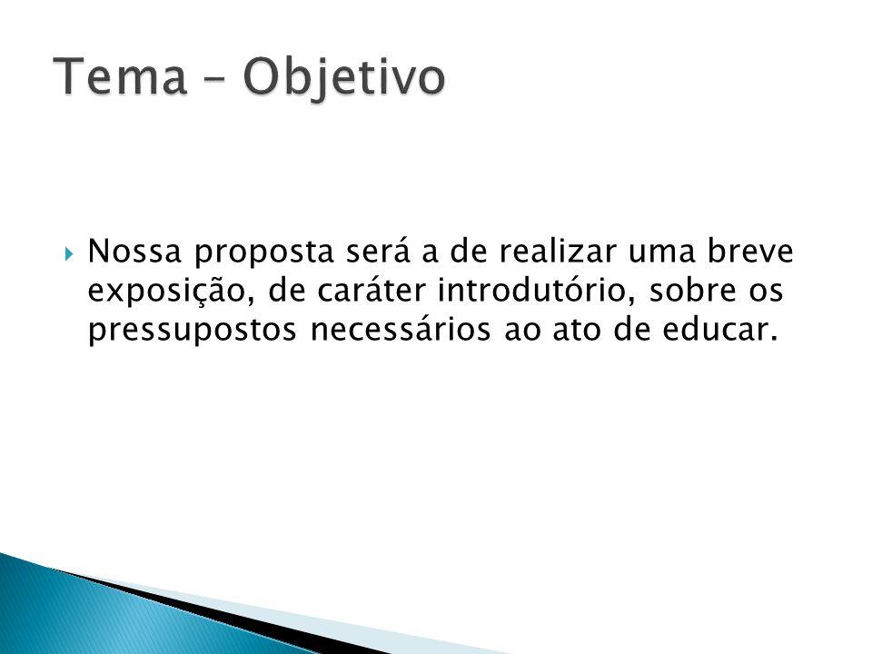 Tema – Objetivo Nossa proposta será a de realizar uma breve exposição, de caráter introdutório, sobre os pressupostos necessários ao ato de educar.