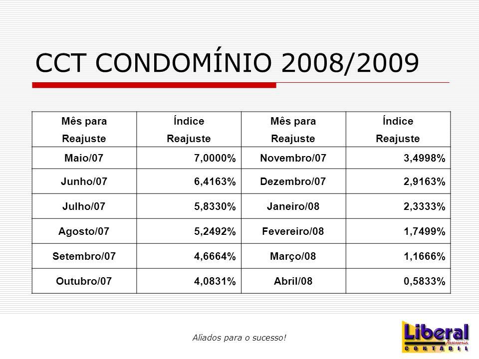 CCT CONDOMÍNIO 2008/2009 Mês para Índice Reajuste Maio/07 7,0000%