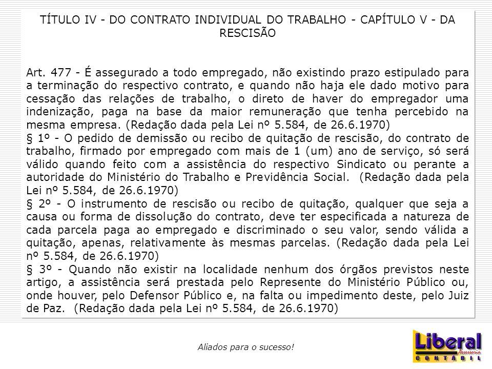 TÍTULO IV - DO CONTRATO INDIVIDUAL DO TRABALHO - CAPÍTULO V - DA RESCISÃO
