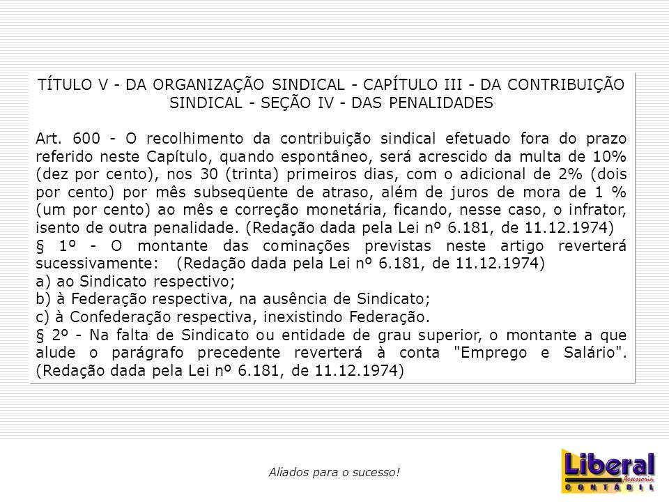 TÍTULO V - DA ORGANIZAÇÃO SINDICAL - CAPÍTULO III - DA CONTRIBUIÇÃO SINDICAL - SEÇÃO IV - DAS PENALIDADES