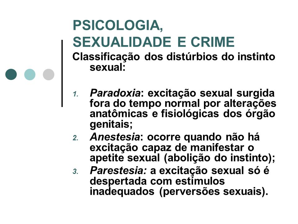 PSICOLOGIA, SEXUALIDADE E CRIME