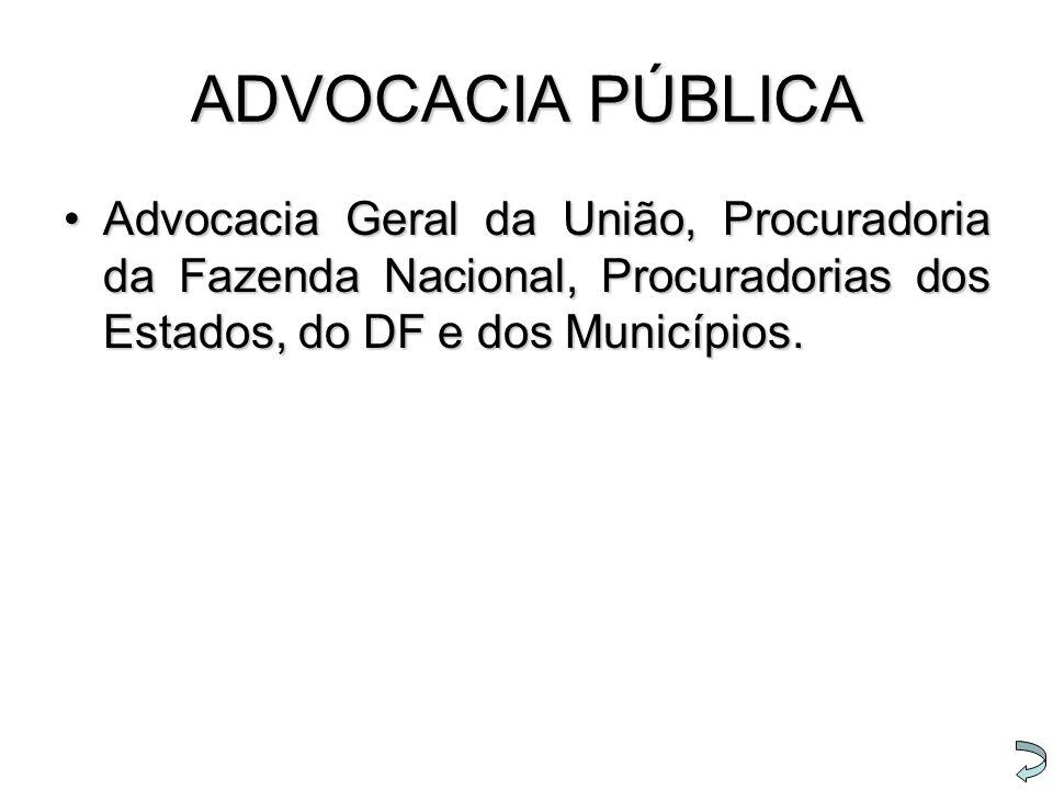 ADVOCACIA PÚBLICA Advocacia Geral da União, Procuradoria da Fazenda Nacional, Procuradorias dos Estados, do DF e dos Municípios.