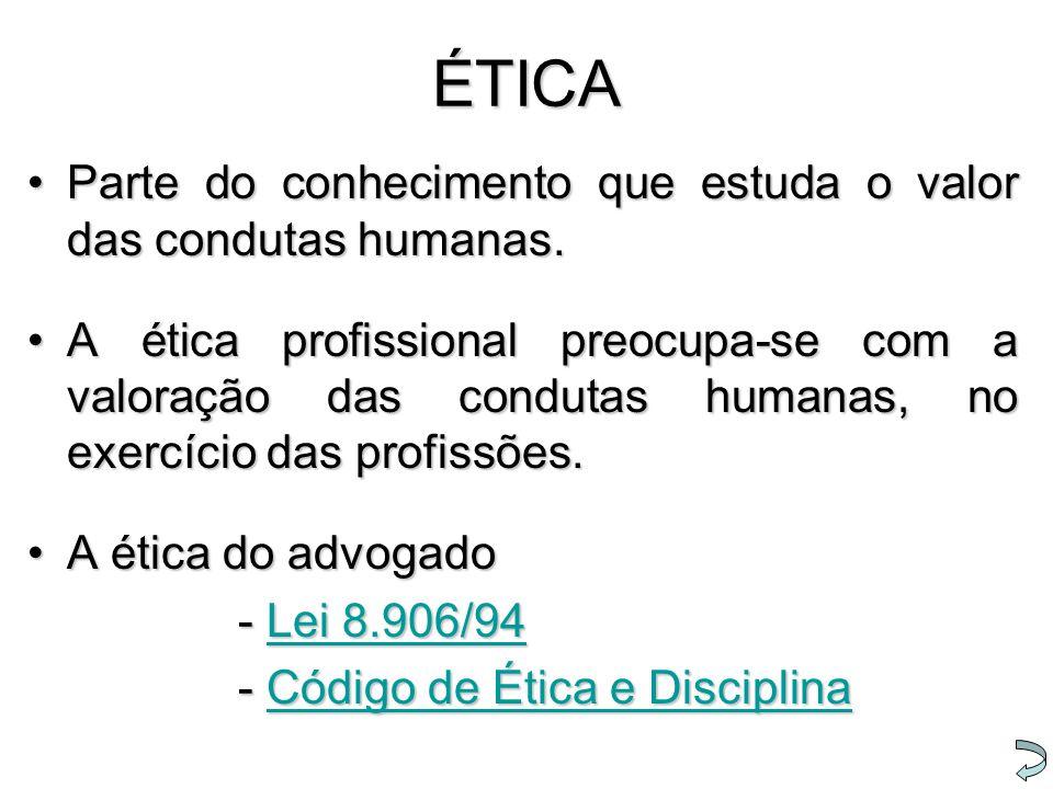 ÉTICA Parte do conhecimento que estuda o valor das condutas humanas.