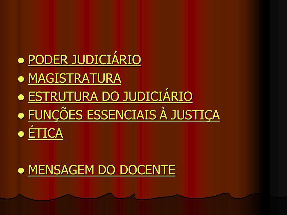 PODER JUDICIÁRIO MAGISTRATURA. ESTRUTURA DO JUDICIÁRIO.